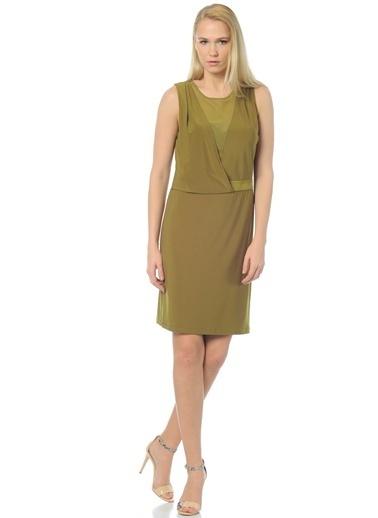 Cotton Bar Kolsuz Dar Elbise Yeşil